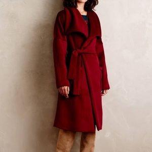 Anthropologie Capulet Fulton Robe Coat in Wine